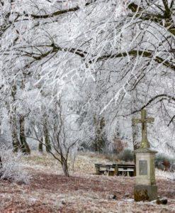 Wegekreuz im frostigen Winterwald, Saarland - Bildtankstelle.de