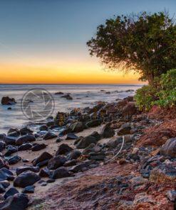 tropischer Sonnenuntergang am Strand - Bildtankstelle.de