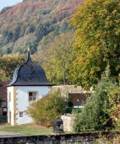 Blick in den Garten des Benediktinerklosters in Tholey - Bildtankstelle.de