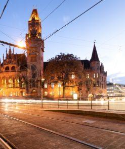 Abendstimmung am Saarbrücker Rathaus, Saarland - Bildtankstelle.de