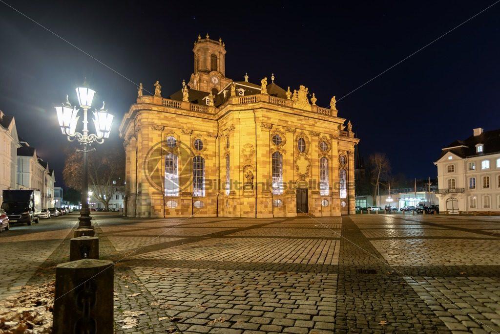 Ludwigskiche bei Nacht, Saarbrücken, Saarland - Bildtankstelle.de