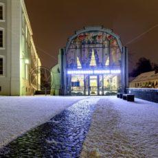 Schnee am Historischen Museum Saar, Saarbrücken, Saarland - Bildtankstelle.de