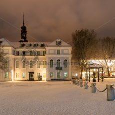 das alte Rathaus von Saarbrücken im Schnee, Saarland - Bildtankstelle.de